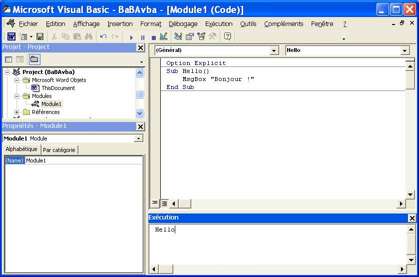 projet visual basic